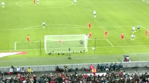Rooney flashes one past the post.