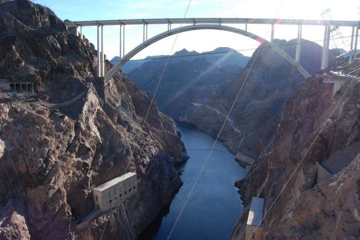 The bridge from the dam.