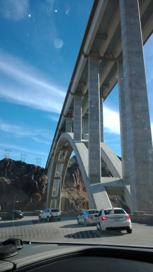 The memorial bridge from our car