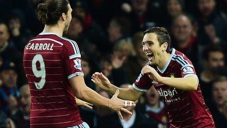 MOTM Carroll with our other scorer Stewart Downing.