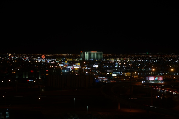 View from the room up Tropicana west. note Red Rock Casino is the building way out on the right of this photo.