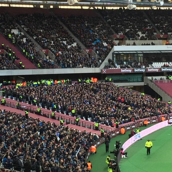 Not quite sure what Stewards were doing one column in apart from getting in the way. Ditto a million police up on the concourse