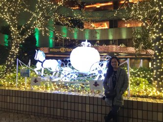 Outside the hotel